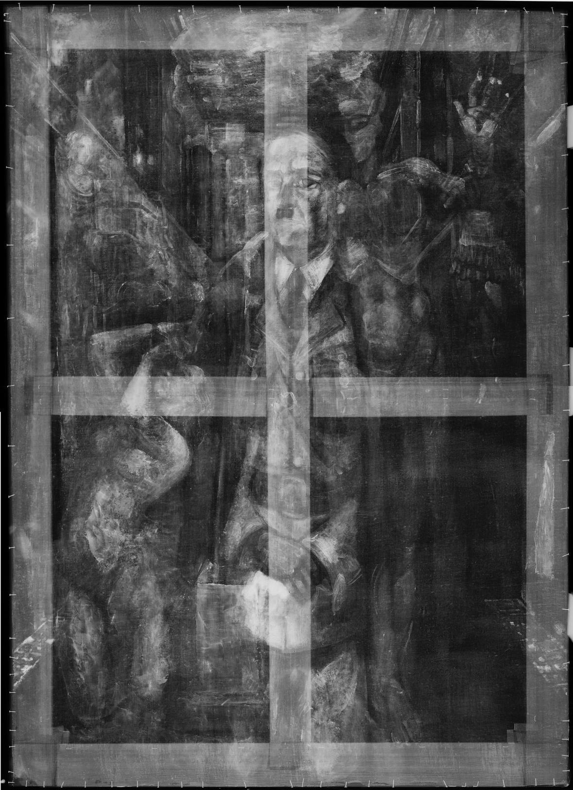 Rentgenový snímek obrazu Erwina Hahse Velké rekviem, 1944-45