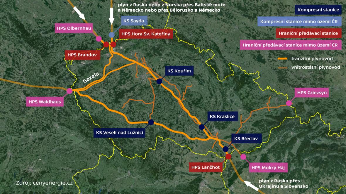 Hlavní plynovody v ČR