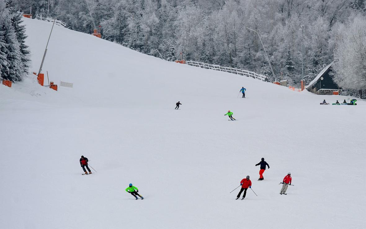 Sjezdovka v Harrachově - snímek z ledna 2015