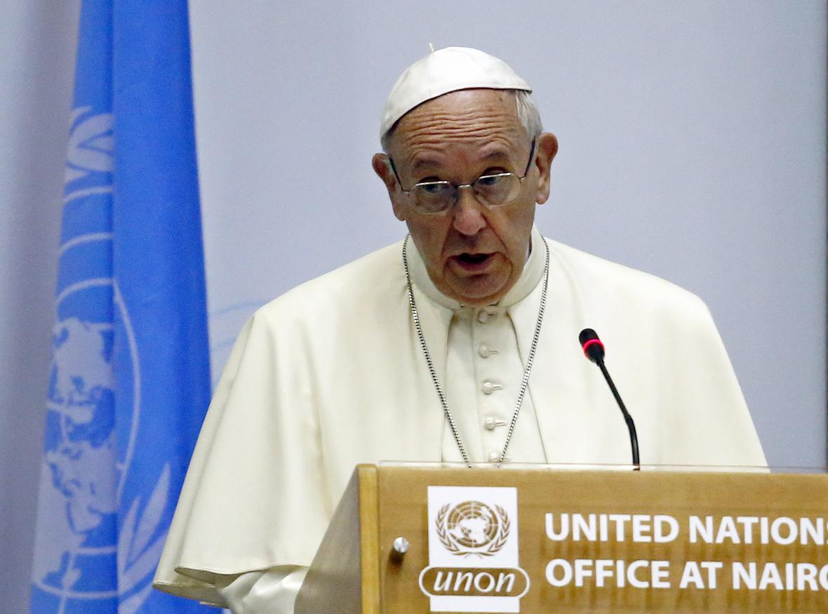 Papež František v sídle OSN v Nairobi
