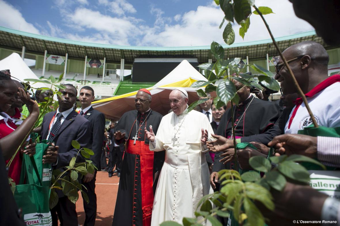 Papež František na stadionu Kasarani v Nairobi