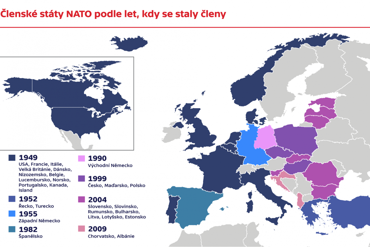 Členské státy NATO podle let, kdy se staly členy