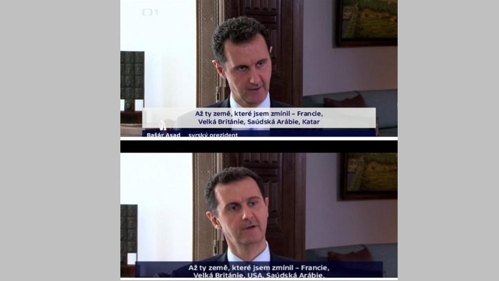 Srovnání překladových titulků v reportáži v Událostech a v nezkráceném rozhovoru na ČT24