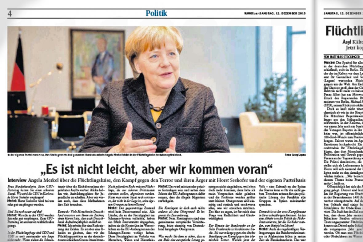 Angela Merkelová v rozhovoru pro list Augsburger Allgemeine