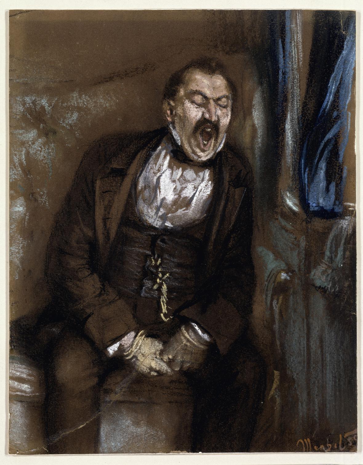 Adolph Menzel / Zívající muž ve vlakovém kupé, 1859