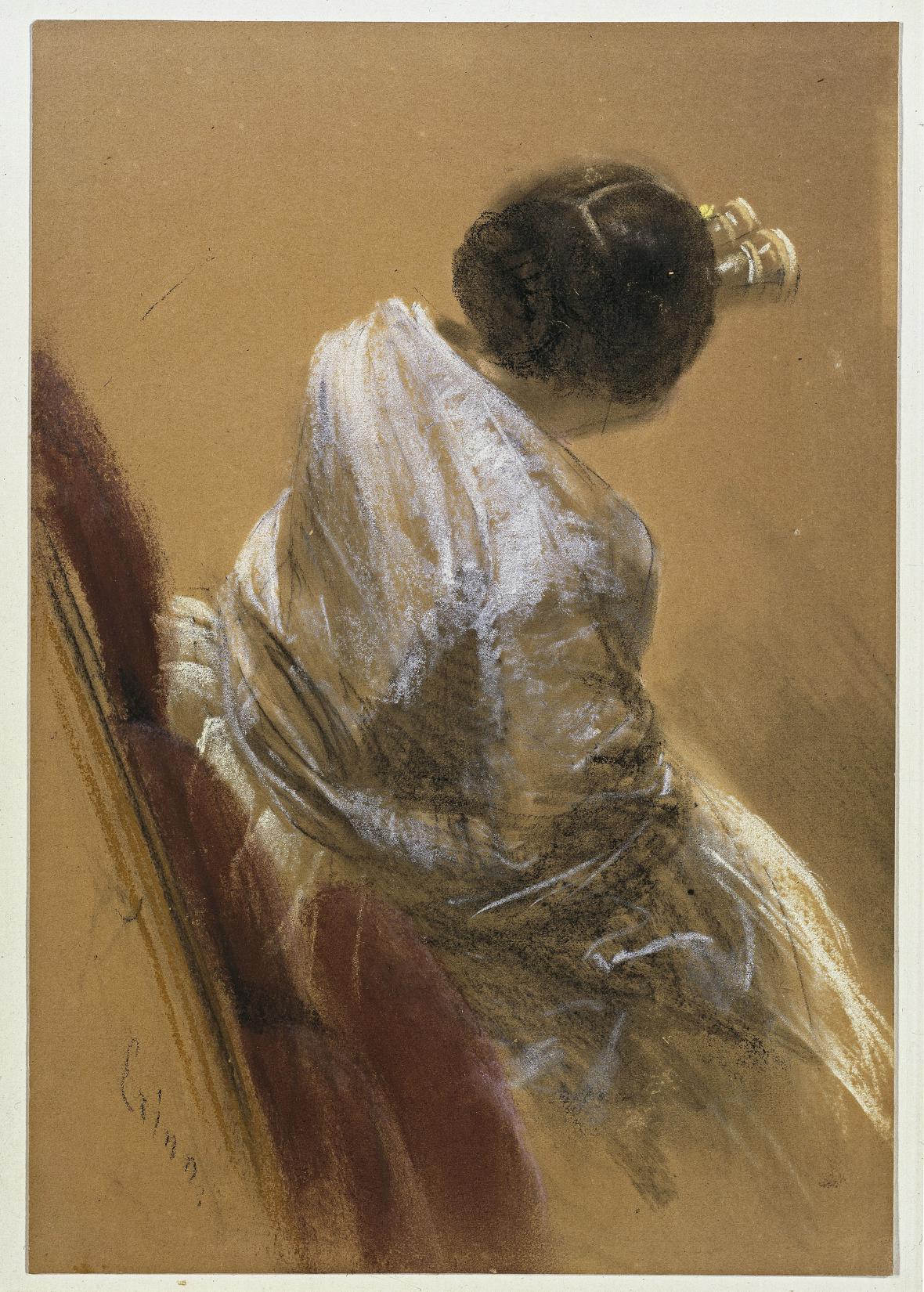 Adolph Menzel / Dáma s kukátkem, kolem 1850