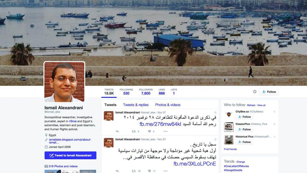 Twitter uvězněného novináře Ismaila Alexandraniho