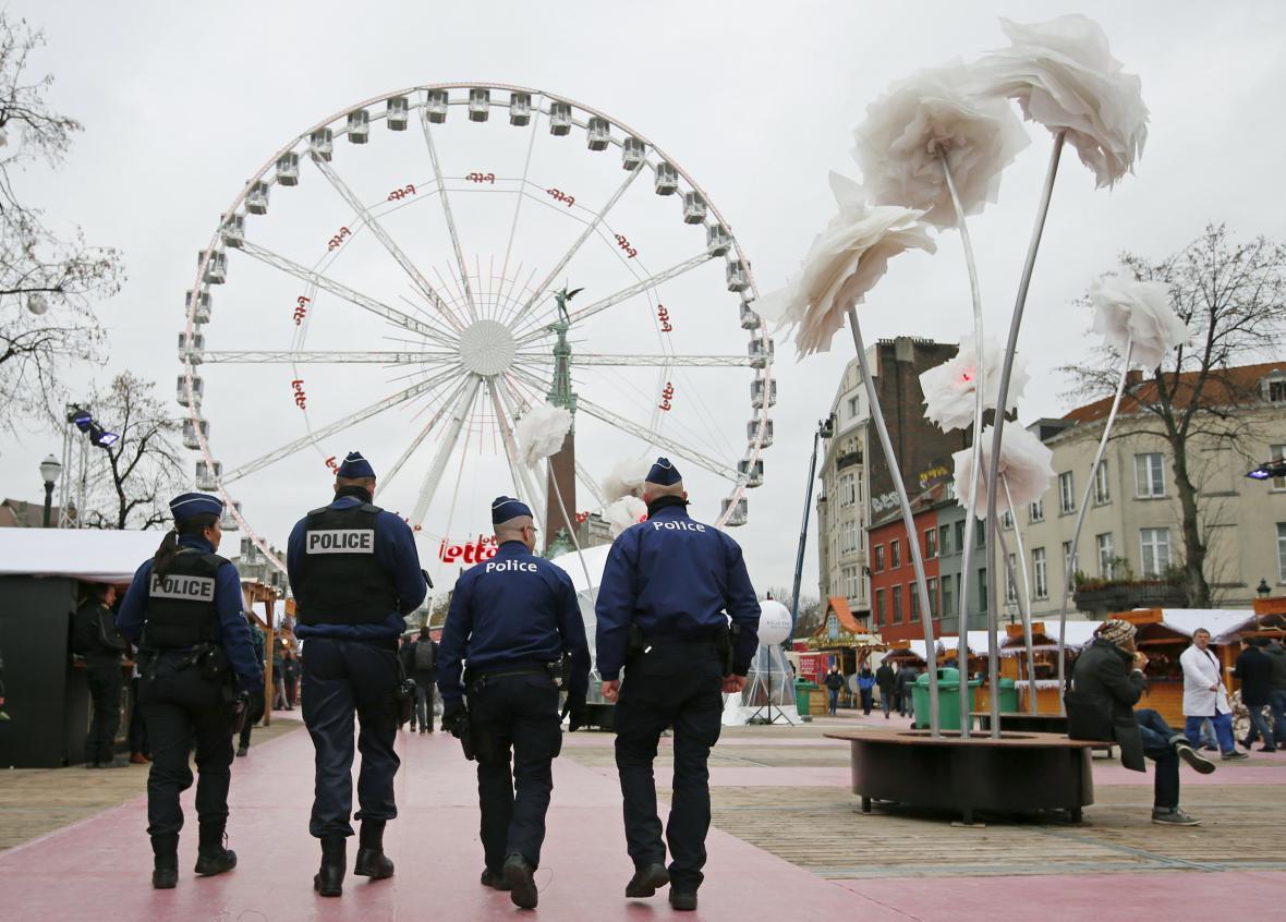 Policie v ulicích Bruselu