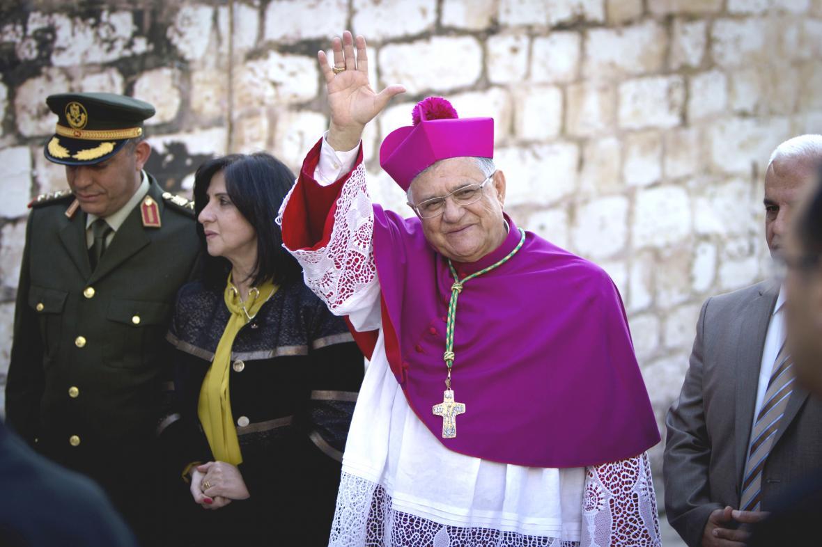 Jeruzalémský patriarcha Fuád Tval v Betlémě