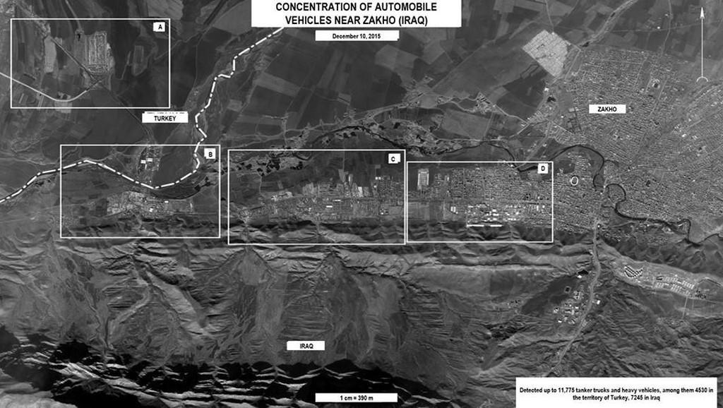 Ruské satelitní snímky - IS prý pašuje ropu do Turecka přes Irák