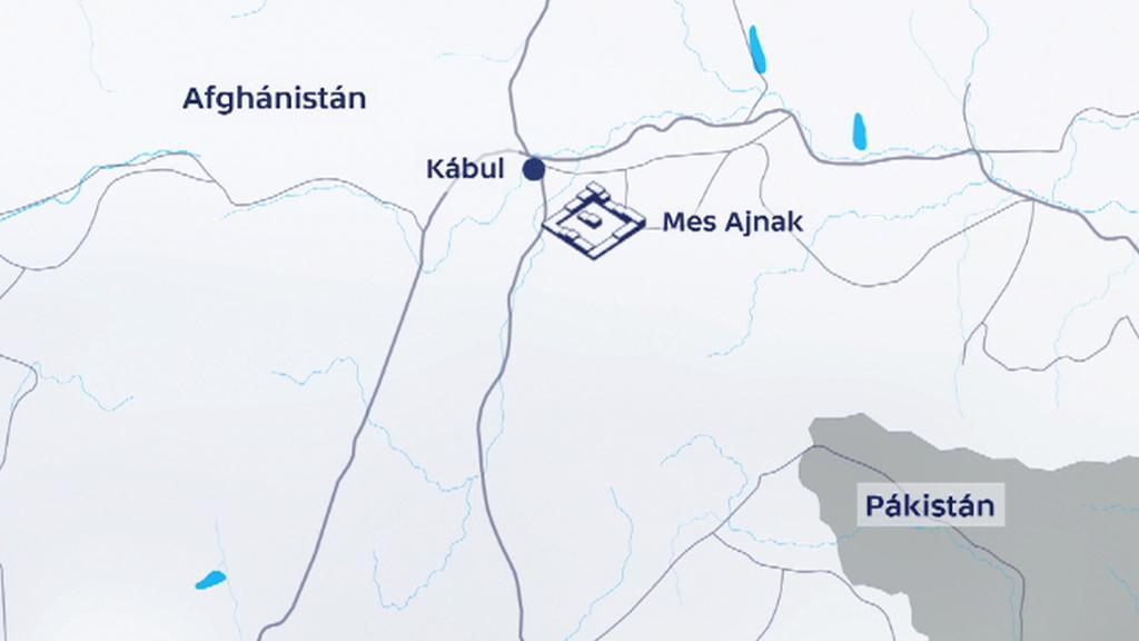 Mapa naleziště Mes Ajnak v afghánské provincii Lógar