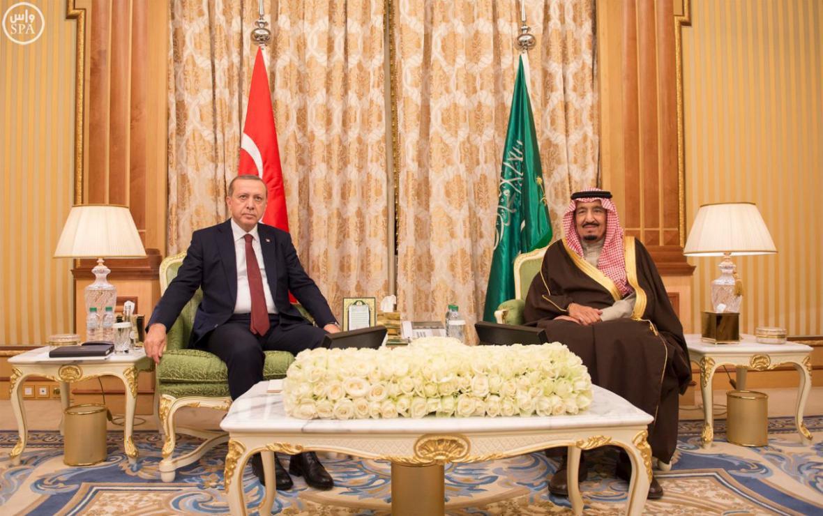 Recep Tayyip Erdogan a saúdský král Salmán