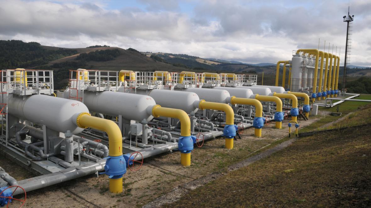 Plynová stanice na západě Ukrajiny