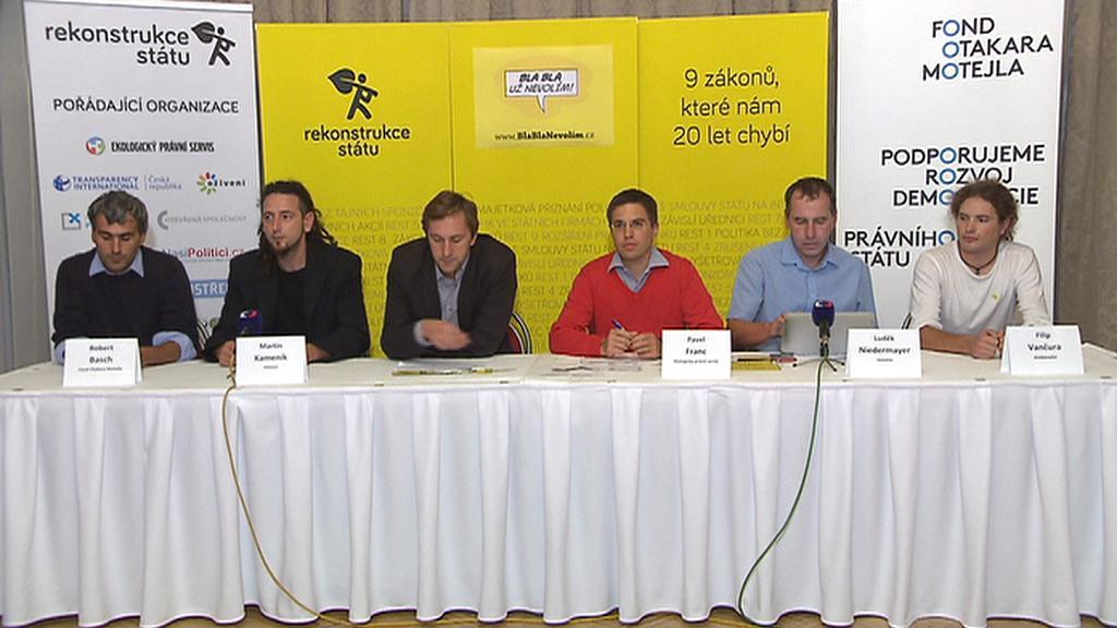 Tisková konference po ustavení Rekonstrukce státu
