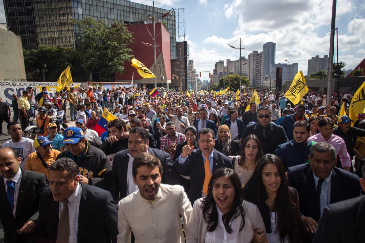 Příznivci venezuelské opozice