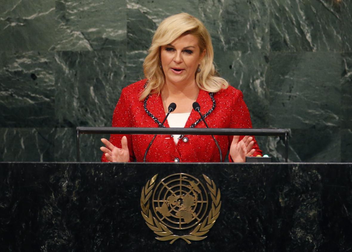 Chorvatská prezidentka při projevu před Valným shromážděním OSN
