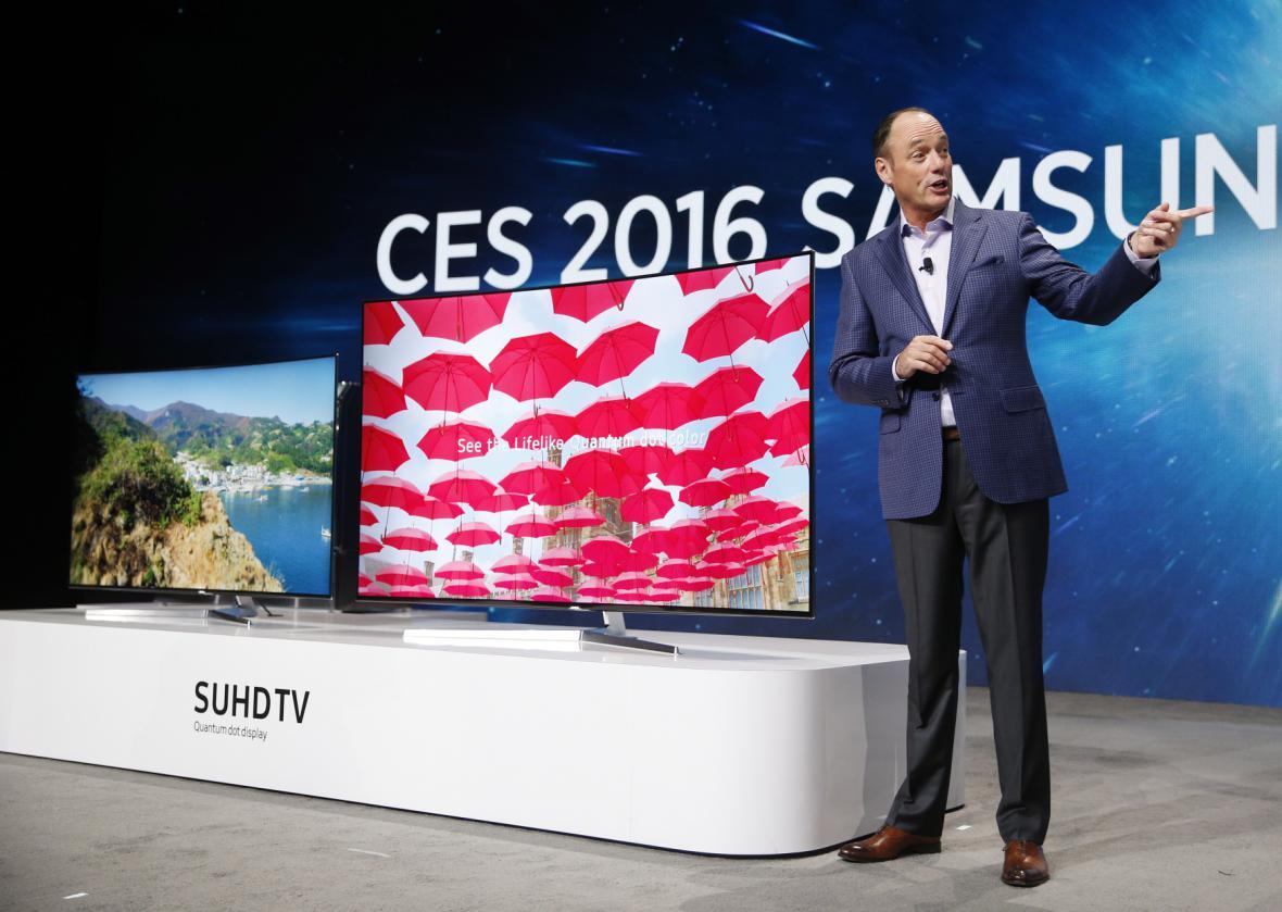 Televize Samsung na veletrhu CES 2016.