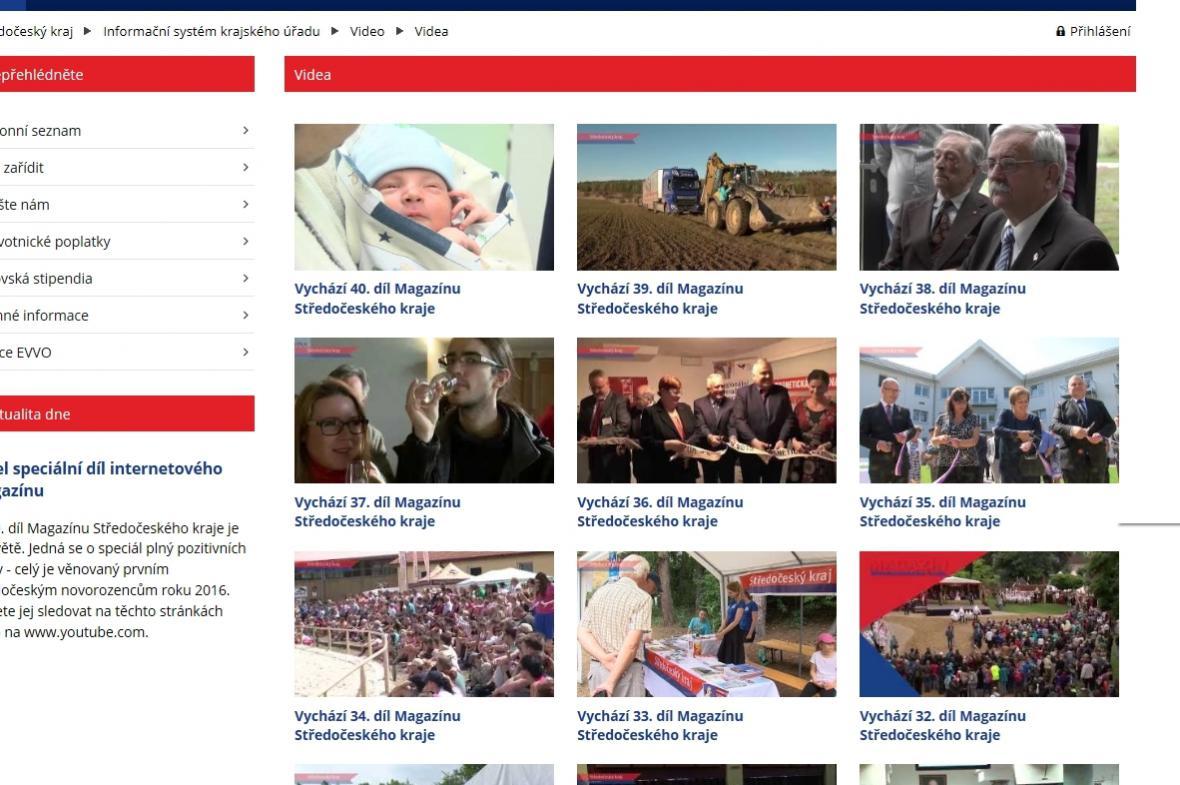 Středočeský magazín na webu kraje