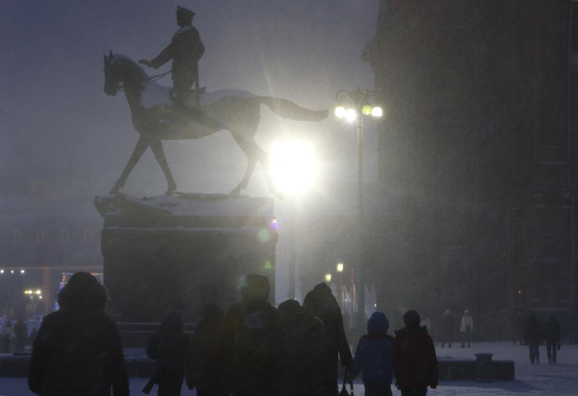 Sněhová bouře v Moskvě