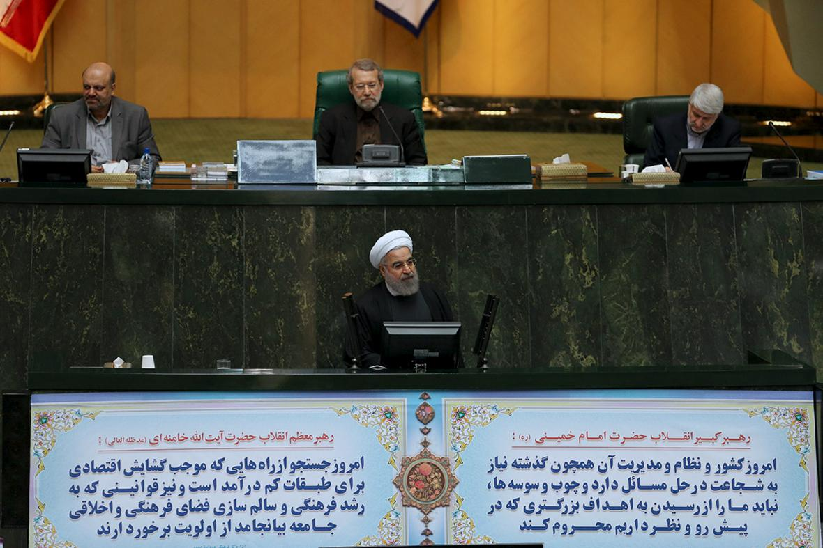 Hasan Rouhání v íránském parlamentu