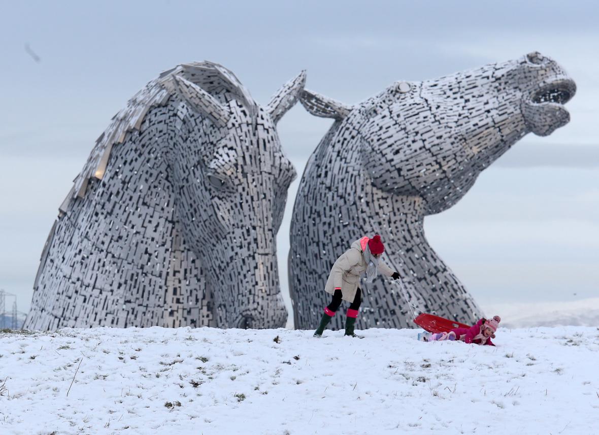 Sněhová nadílka ve skotském Falkirku