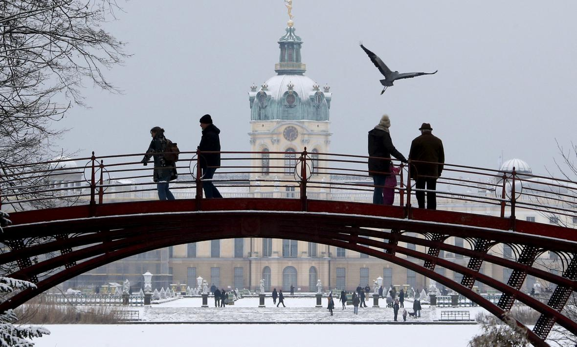 Berlínský Charlottenburg zasypal sníh