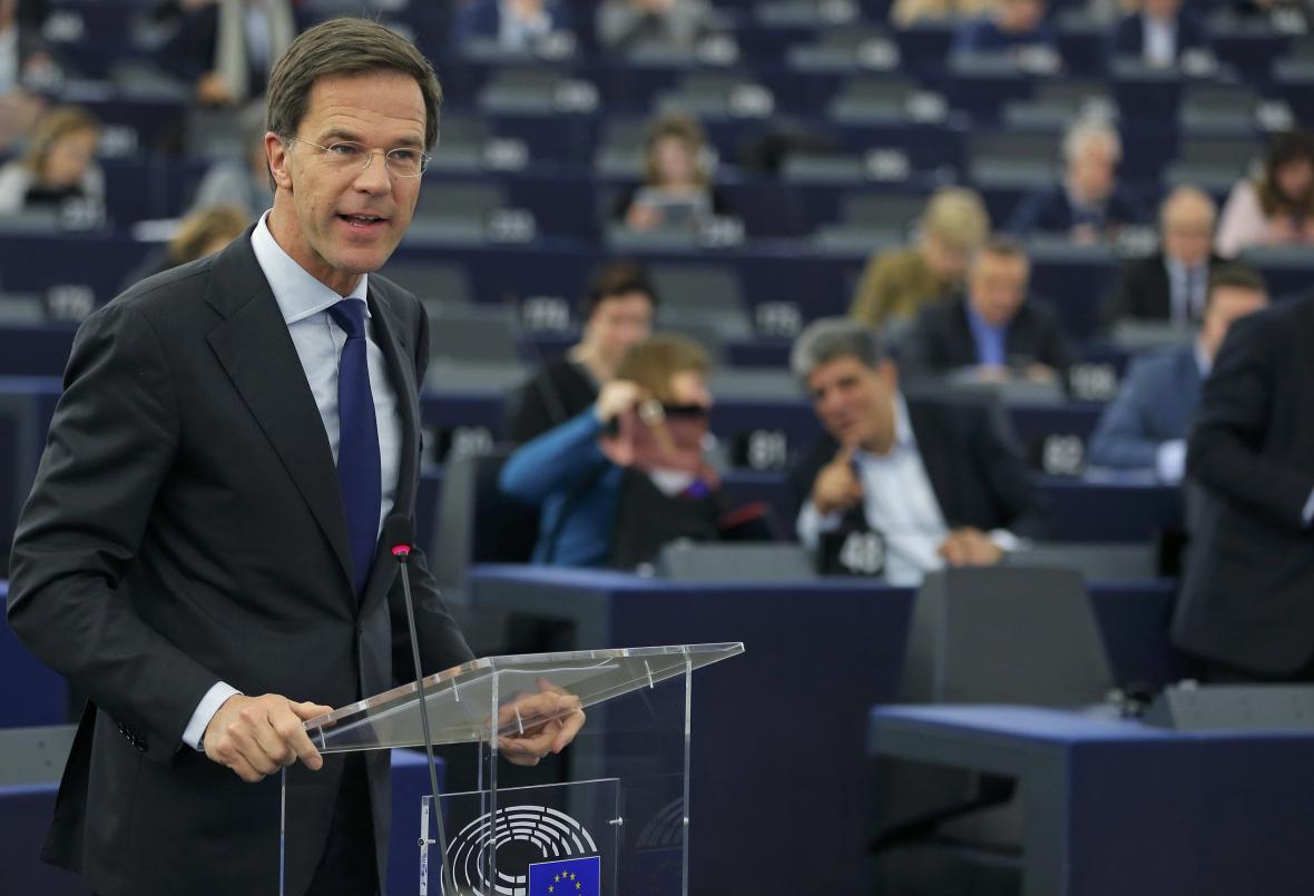 Mark Rutte při projevu v europarlamentu