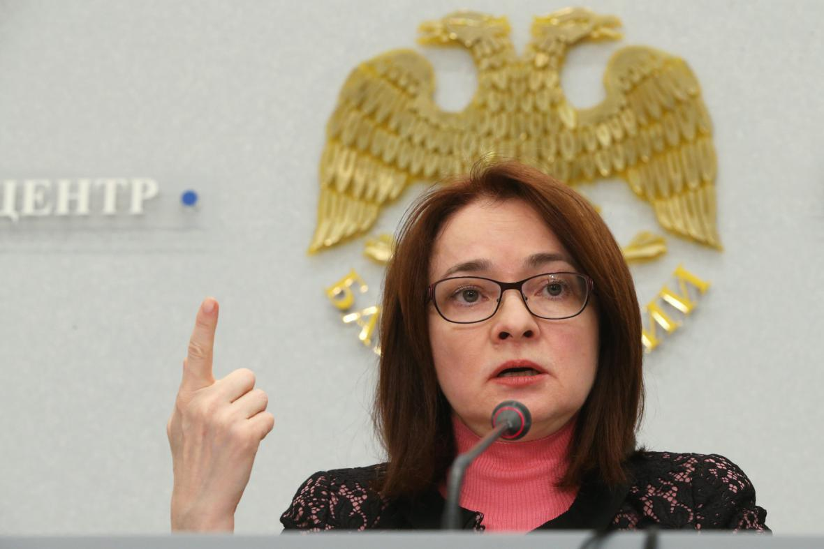 Vněšprombank přišla o licenci. Zasáhla ruská centrální banka (na snímku guvernérka Elvira Nabiullinová)