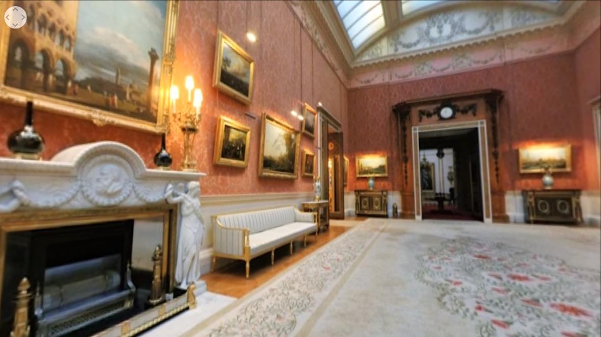 Záběr z virtuální prohlídky Buckinghamského paláce