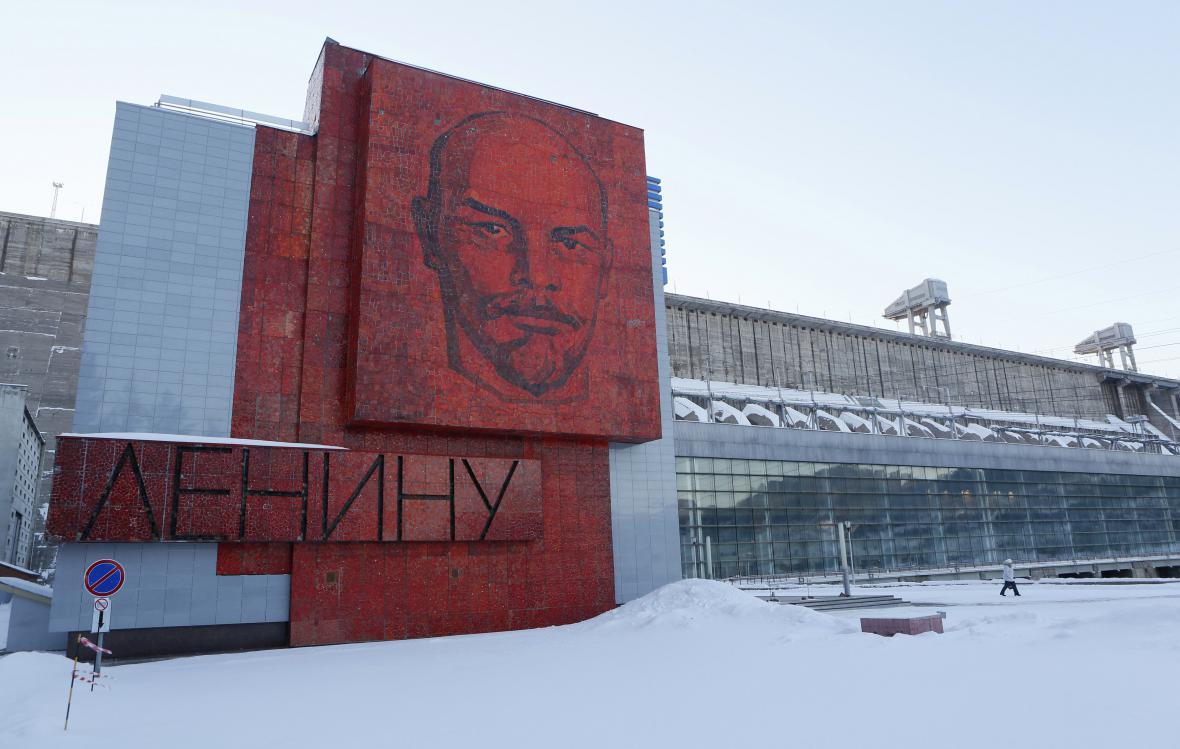 Portrét Vladimíra Iljiče Lenina u krasnojarské elektrárny