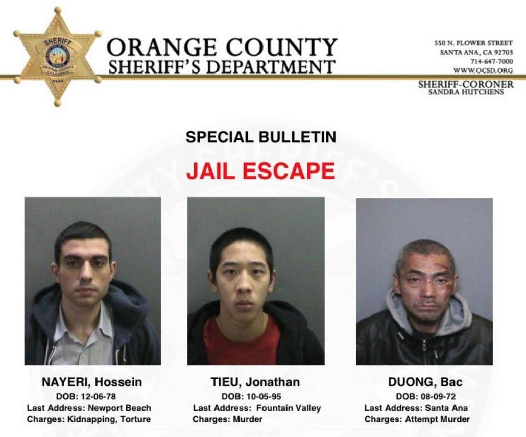Oznámení o útěku trojice vězňů