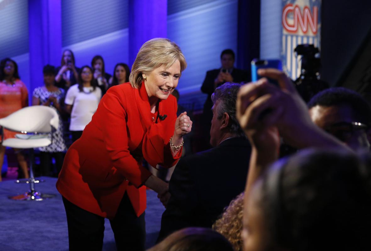 Hillary Clintonová na debatě v Iowě