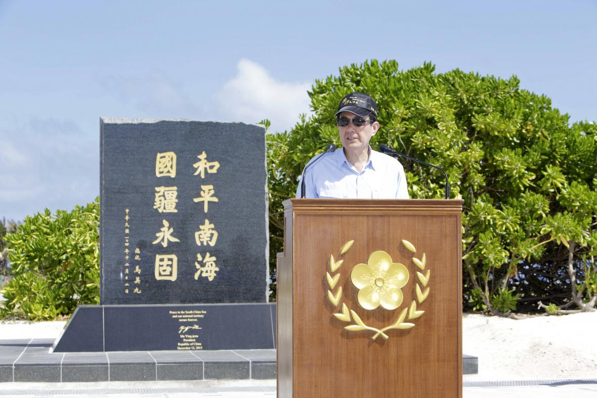 Ma Jing-ťiou při projevu na ostrově Tchaj-pching