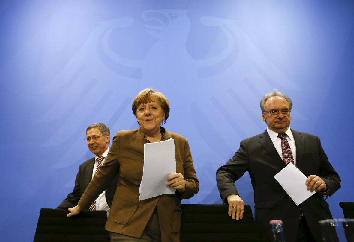 Angela Merkelová na brífinku po jednání s premiéry spolkových zemí