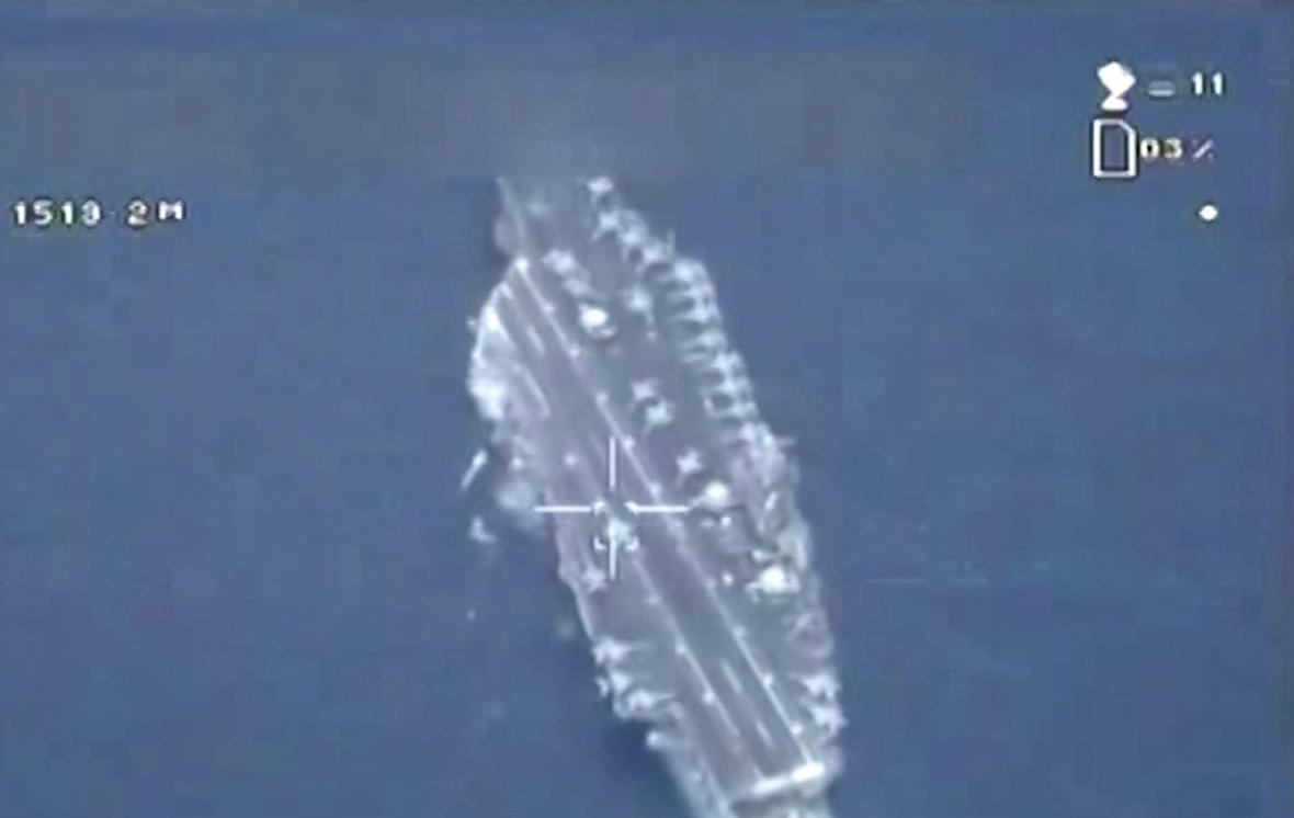 Fotografie amerického plavidla z íránského dronu