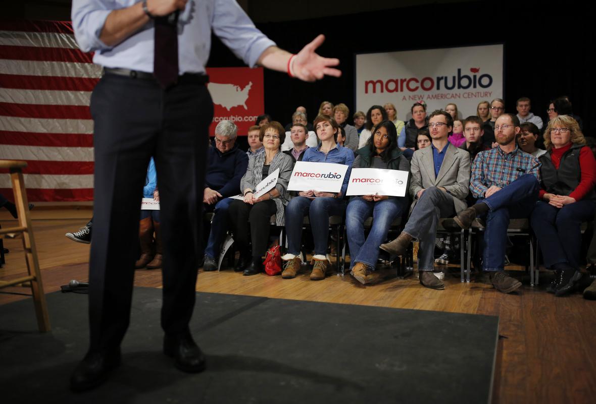 Republikán Marco Rubio na volebním mítinku