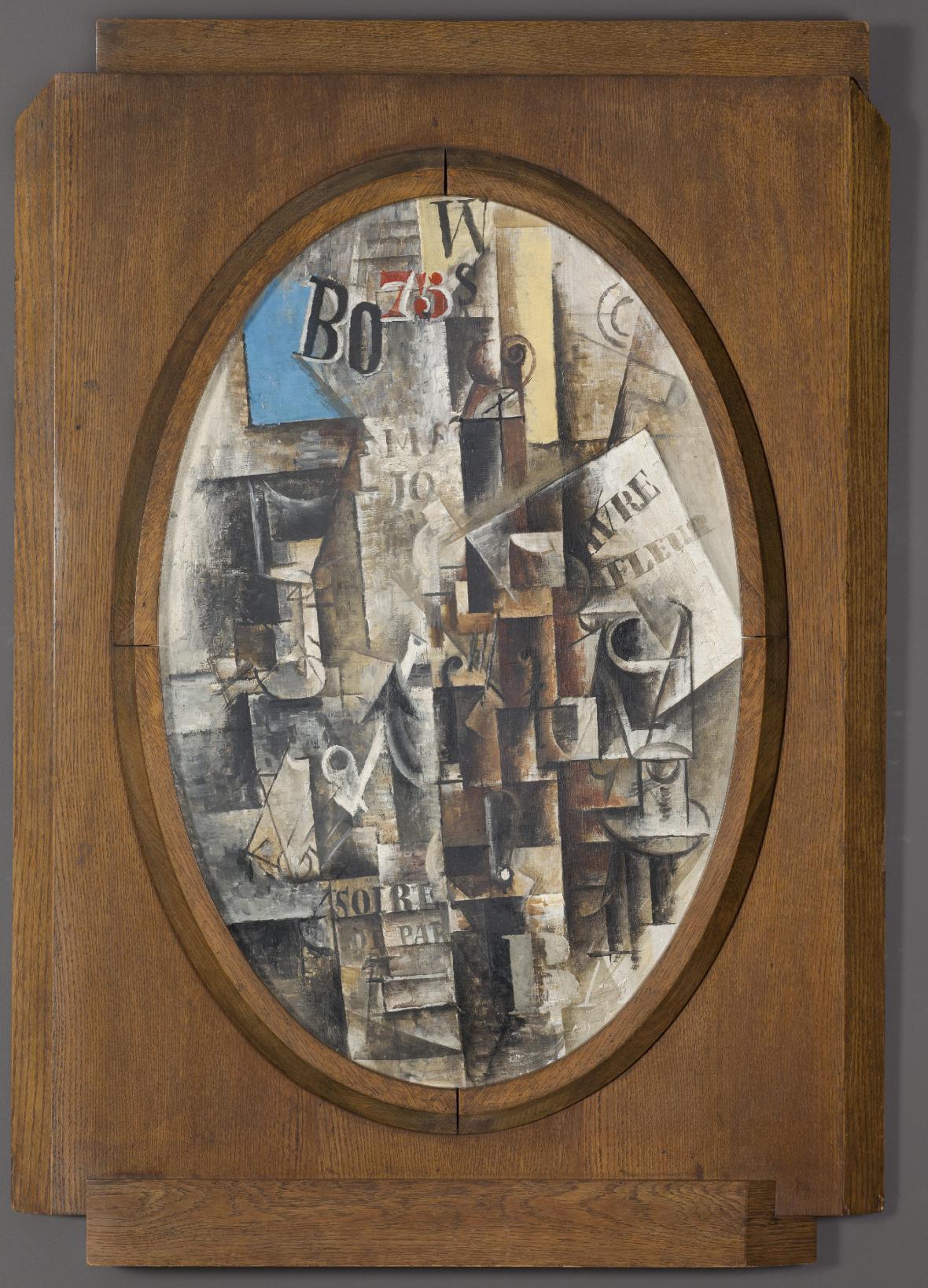Pablo Picasso / Housle, sklenice, dýmka a kotva (Vzpomínka na Le Havre), 1912