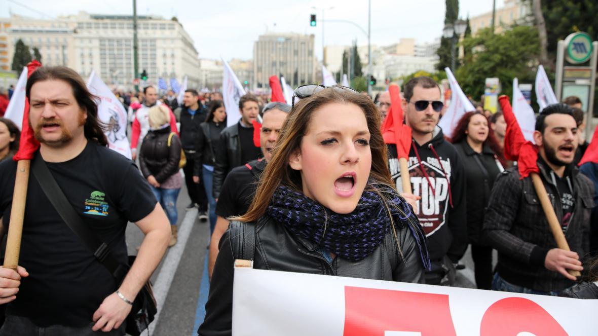 Stávku v Řecku doprovází demonstrace