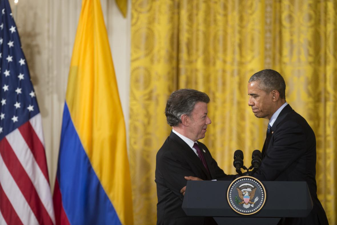 Šéf Bílého domu Barack Obama a kolumbijský prezident Juan Manuel Santos