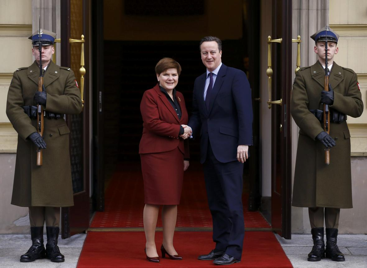 Beata Szydlová přijala ve Varšavě Davida Camerona
