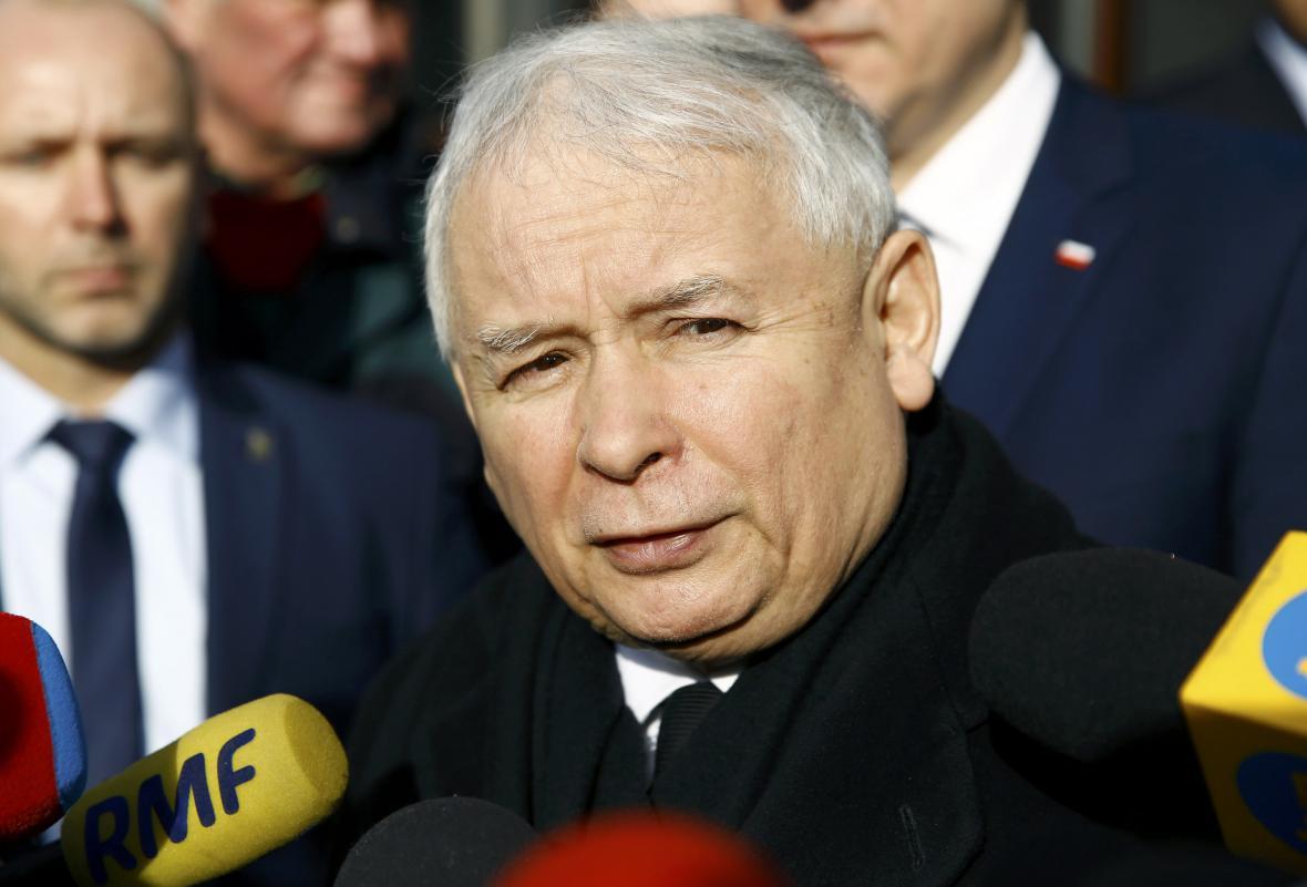 Jaroslaw Kaczyński po jednání s Davidem Cameronem
