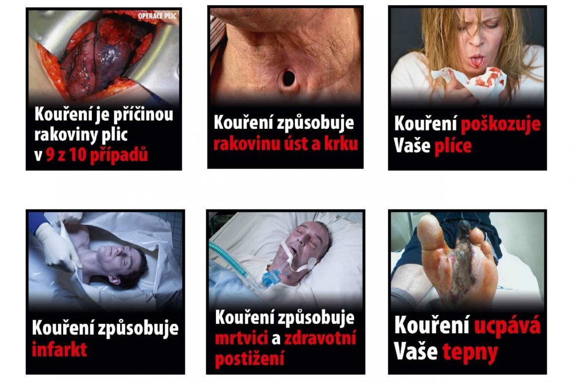 Ukázky fotografií, které budou umístěny na krabičkách cigaret