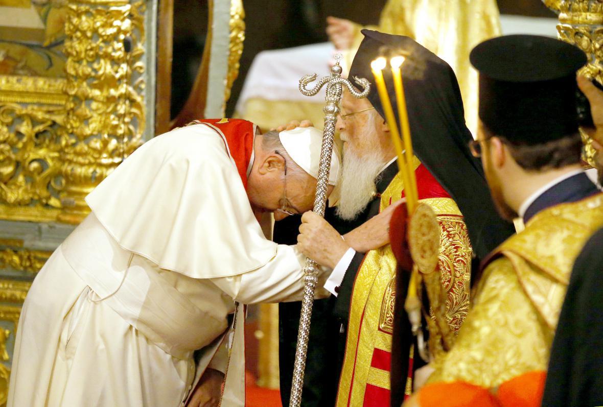 František s patriarchou Bartolomějem