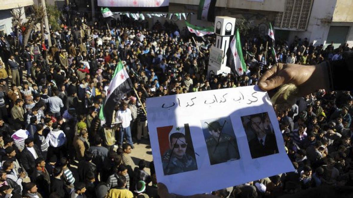 Protiasadovské protesty v Homsu v únoru 2012