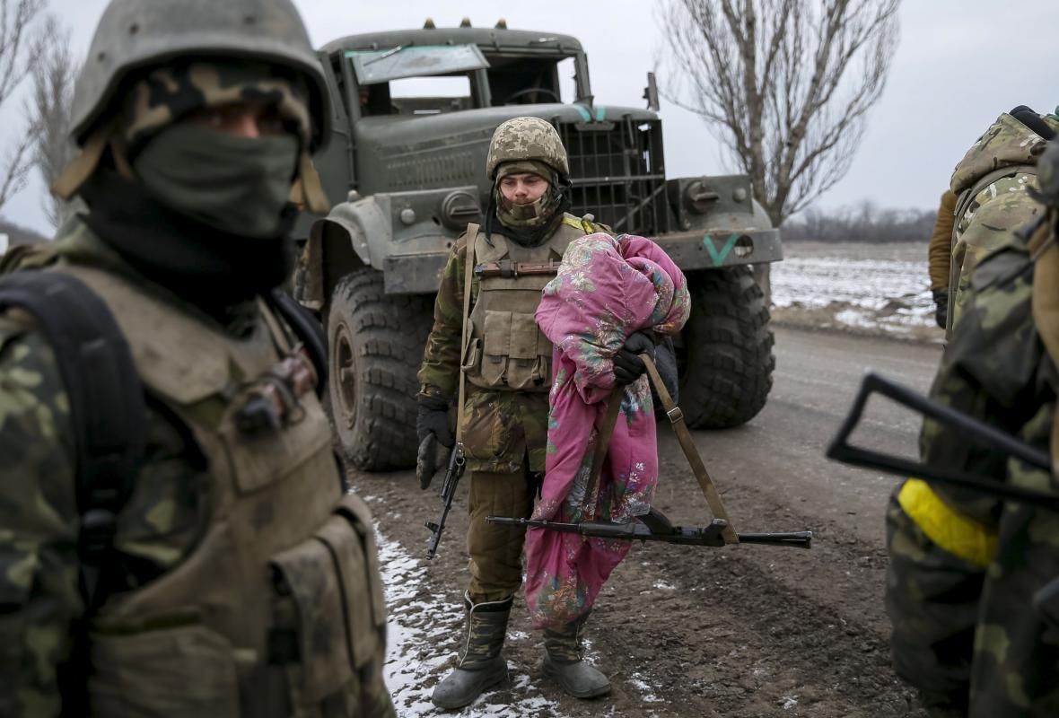 Ukrajinští vojáci u Debalceve
