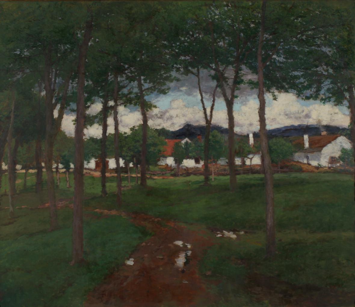 Antonín Slavíček / Náves v Kraskově, 1906