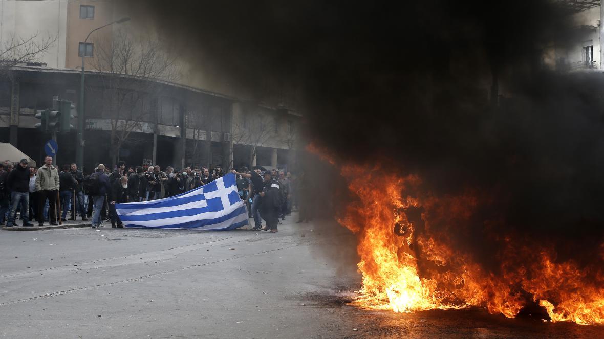 Demonstrace řeckých zemědělců