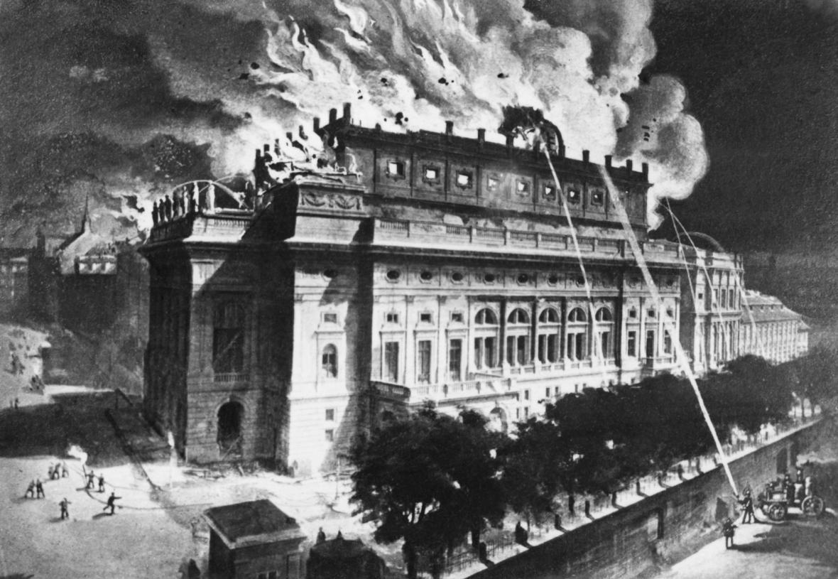 Rytina hořícího Národního divadla v Praze ( 12.srpna 1881)