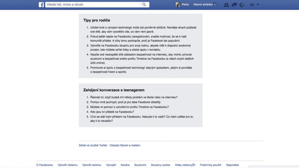 Tipy pro rodiče na Facebooku