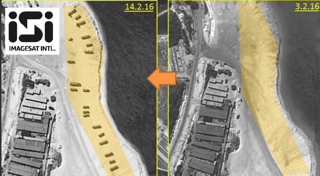Satelitní snímky ostrova Woody s raketovým systémem